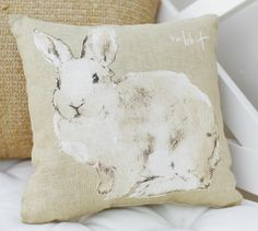 Watercolor Bunny Pillow | Pottery Barn, these are Darling!  I bought last year