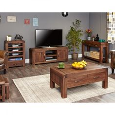 Baumhaus Shiro Walnut Widescreen TV Cabinet CDR09B