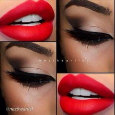 Makeup discovered by Kayla on We Heart It-Image uploaded by Kayla. Find images and videos about red, makeup and lips on We Heart It - the app to get lost in what you love.