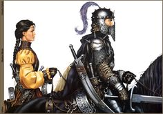 Anakerie and Modhri from Shadow Moon ~ Book One of the Shadow War Chronicles, a 1500 page fantasy epic written by George Lucas and Chris Claremont. Steve Vai, Fantasy Warrior, Sci Fi Fantasy, High Fantasy, Moon Book, Knight In Shining Armor, Fantasy Pictures, Sword And Sorcery, Science Fiction Art