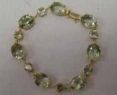 "Gold Plated 925 Sterling Silver Prasiolite Green Amethyst 7"" Tennis Bracelet OT | eBay"