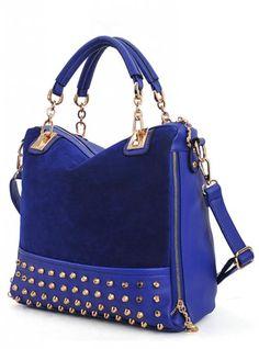 Blue Fashion Satchels Bag With Rivet