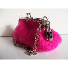 Hot Pink/Felted Wristlet Purse ($59) ❤ liked on Polyvore featuring bags, handbags, clutches, hot pink purse, handbags clutches, chain handbags, wristlet clutches and purse wristlet