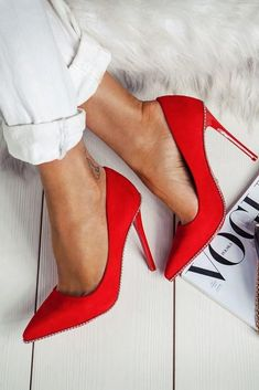 Amazing Closed Toe Red Stiletto Heels Red heels are a classic choice that pairs… Red Stiletto Heels, Red Stilettos, Studded Heels, Red Heels Outfit, Heels Outfits, Red Shoes, High Heels For Prom, Red High Heels, Prom Heels