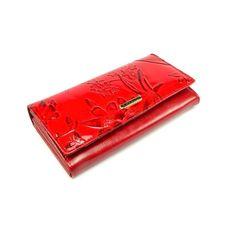 Červená peněženka kožená dámská s ornamenty - peněženky AHAL