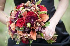 Wedding, Flowers, Red, Orange, Brown, Purple, Bridesmaids, Black
