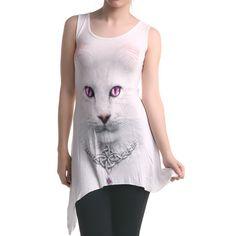 Camiseta Gótica Blanca con Gato | Crazyinlove España