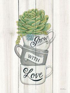 Kitchen Canvas Art, Kitchen Wall Art, Decoupage Vintage, Decoupage Paper, Watercolor Flowers, Watercolor Paintings, Cactus Art, Plant Art, Chalkboard Art