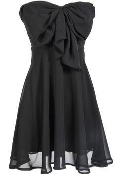 Black Oversized Bow Chiffon Dress.