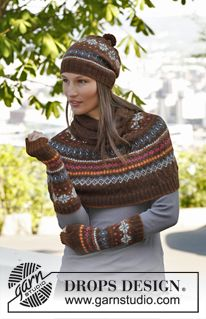 """Set consist of: Knitted DROPS poncho, hat and wrist warmers with fair-isle pattern in """"Alpaca"""". ~ DROPS Design Design fair isle Autumn Aurora / DROPS - Free knitting patterns by DROPS Design Knitting Machine Patterns, Sweater Knitting Patterns, Lace Knitting, Knit Patterns, Knit Crochet, Poncho Shawl, Knitted Poncho, Knitted Hats, Capelet"""