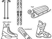 Imagier lié au vocabulaire des activités en hiver : ski, hockey sur glace, luge, snowboard