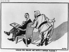 1938. 'Would You Oblige Me with a Match Please?' British cartoon by David Low depicting Benito Mussolini, labelled 'Dictatorship,' asking British Prime Minister Neville Chamberlain, labeled 'Democracy,' for a match to light the fuse to a bomb under Chamberlain's chair, 1938.