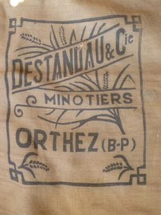 Hessian Grain SackJute Sacking French Antique Art Deco Stylish Design Millers Bag