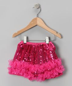 Take a look at this Hot Pink Sequin Shorts - Infant, Toddler & Girls by Zazzy Zebra on #zulily today!