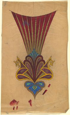 Vertical Design with Ornament of Paisley and Palmette Motifs with a Fan of Gold and Red Rays Above  (Anonymous, French, 20th century, Art Deco)