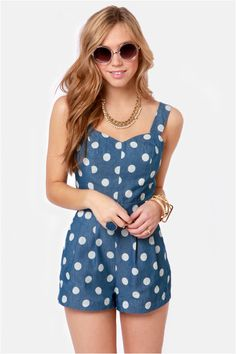 Dot of the Bay Blue Polka Dot Romper at LuLus.com! Its soo cute and flirty. I just gotta have it! #lulusrocktheroad