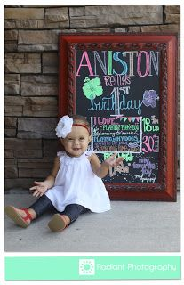 1 year photos with chalkboard. I love the idea of chalk art for the baby's first year pictures!