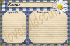 Recipe Card Printable Digital Image 4x6