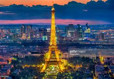 Paris Skyline With Eiffel Tower At Night Stock Photo   Getty Images
