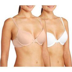 No Boundaries Tee Shirt Bra 2 Pack, Women's, Size: 38C, Beige