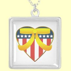 USA Patriotic Heart Yellow Support Ribbon Necklace. Available in silver and gold and square or round shapes! #Military #Patriotic #Necklace