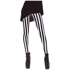 Black and White Vertical Striped Print Elastic Leggings ❤ liked on Polyvore