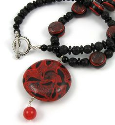 Molten red and black polymer clay statement necklace