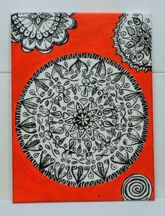 Mandala de acrílico sobre lienzo, pintado a mano para trueque por libros.