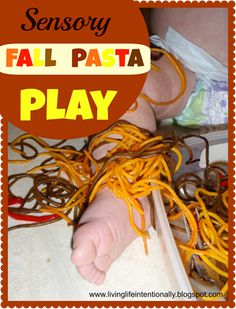 Fall Pasta Play and craft - this is such a fun fall activity for toddler, preschool, and kindergarten age kids.
