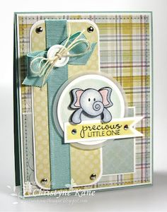 This could be cute with any little cute animal stamps, and the color scheme can easily be changed to fit either a baby boy or girl card.