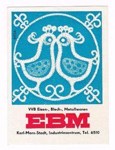DDR-Streichholzschachtel-LKE-Etikett-EBM-Karl-Marx-Stadt-zwei-Voegel