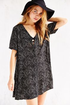 Staring At Stars Silky V-Neck Trapeze Dress - Urban Outfitters
