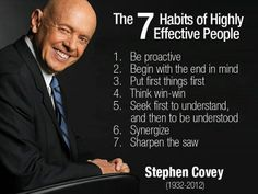 "What are some of your favorite thoughts from Dr. Covey? www.pinterest.com/pin/24066179228855335 •""Admission of ignorance is often the first step in our education."" •""To learn and not to do is really not to learn. To know and not to do is really not to know."" •""We see the world, not as it is, but as we are—or, as we are conditioned to see it."" •""Happiness, like unhappiness, is a choice."" •""If I really want to improve my situation, I can work on the one thing over which I have control—myself."""
