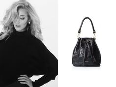 Black leather bag. Everyday look.