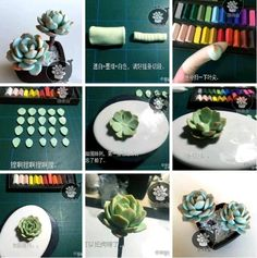 Polymer Clay Flowers, Polymer Clay Earrings, Polymer Clay Projects, Diy Clay, Biscuit, Miniature Crafts, Clay Design, Cactus Y Suculentas, Sculpture Clay