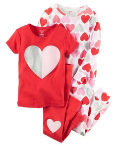 d0b8b09f42 4-Piece Snug Fit Cotton Heart PJs