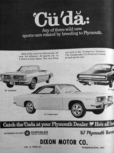 "It's a ""Cuda"" #Plymouth #barracuda #vintage 1967 newspaper advertisement"