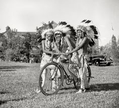 Native Americans riding a bicycle in Washington DC