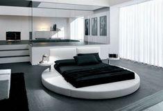 cool-men-bedroom-with-modern-concept-and-elegant-furniture-as-well-as-unique-round-bed. Red Bedroom Design, Black Bedroom Decor, Bedroom Red, Bedroom Colors, Interior Design, Bedroom Designs, Bedroom Ideas, Japanese Platform Bed, Round Beds