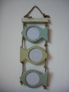 Gisela Graham Wooden Green/Olive Fish Photo Frames