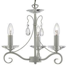 1243-3CR VERONA - luster sviečkový - krémovo-zlatý kov+sklo