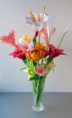 Assorted Origami Flowers Pink Red Yellow by Lusine on Etsy, $50.00