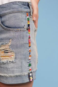 Slide View: 2: Pilcro Hyphen High-Rise Embroidered Shorts