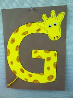 G is for Giraffe storytime -- books, songs, rhymes, and craft Preschool Letter Crafts, Alphabet Letter Crafts, Abc Crafts, Alphabet Book, Preschool Themes, Preschool Crafts, Letter Tracing, Preschool Jungle, Alphabet Games