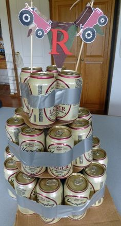 We can build a beer can cake with our empty cans!