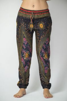 Peacock Feather Women's Slim Cut Harem Pants in Floral Black