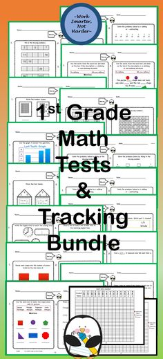 #21 Math tests- a test for every math objective #number sense, #adding and subtracting- several #fact families #place value #skip counting #graphing #time #problem solving #shapes #attributes of shapes #composing shapes #fractions- a couple #measurement standard #measurement nonstandard #two digit addition/subtraction #missing addends- a couple #true or false equations Plus #answer sheets And #tracking chart ~all~ #Common Core aligned