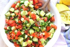 Mediterranean Salad Recipes Cucumber tomato is Among the Beloved Salad Of Several People Round the World. Besides Simple to Produce and Good Taste, This Mediterranean Salad Recipes Cucumber tomato Also Healthy Indeed. Tomato Salad Recipes, Cucumber Tomato Salad, Tomato Recipe, Mediterranean Salad Recipe, Mediterranean Dishes, Fruits And Veggies, Vegetables, Vegetarian Recipes, Healthy Recipes