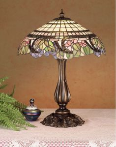 Meyda Tiffany 38516 Stained Glass / Tiffany Table Lamp from the Handel Grapevine Antique ReproductionsHandel Grapevine Table Medium base bulb, (max) Accent Lamps Tiffany Glass Rustic Lamps, Antique Lamps, Vintage Lamps, Farmhouse Lamps, Tiffany Table Lamps, Lamp Table, Best Desk Lamp, Stained Glass Lamps, Tiffany Glass