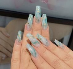 In seek out some nail designs and ideas for your nails? Listed here is our set of must-try coffin acrylic nails for stylish women. Best Acrylic Nails, Acrylic Nail Designs, Acrylic Nails With Glitter, Fake Nail Designs, Turquoise Acrylic Nails, Colourful Acrylic Nails, Marble Nail Designs, Acrylic Nail Art, Aycrlic Nails